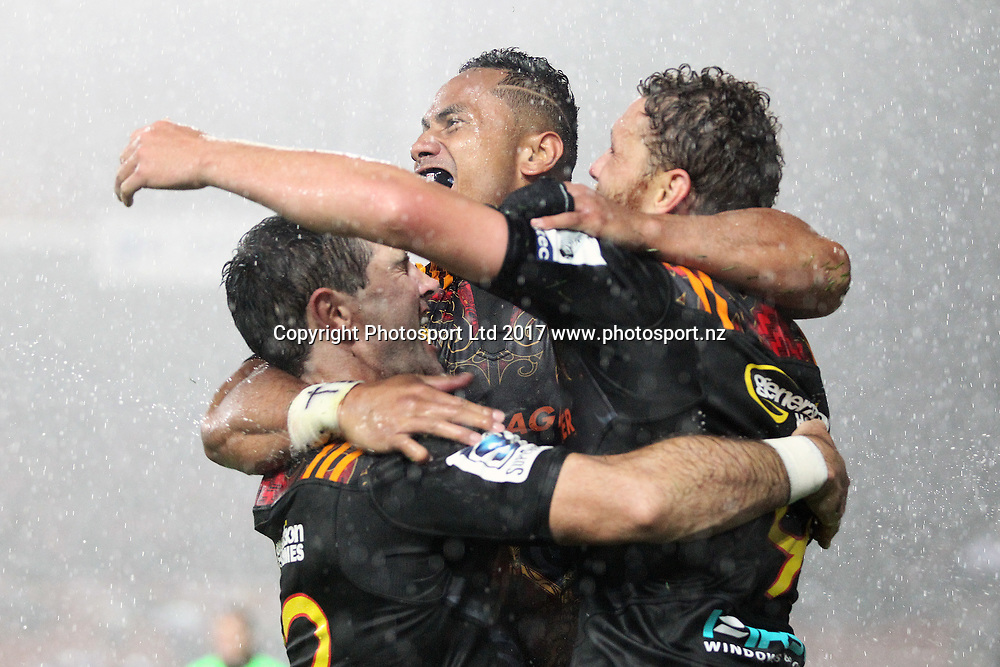 The Chiefs celebrate a try scored by Chief's winger Toni Pulu during the Super Rugby rugby match - Chiefs v Hurricanes played at FMG Stadium Waikato, Hamilton, New Zealand on Friday 10 March 2017.  Copyright photo: Bruce Lim / www.photosport.nz