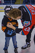 KELOWNA, CANADA - FEBRUARY 19:  Braydyn Chizen #22 of the Kelowna Rockets at the CIBC Family Skate with the Kelowna Rockets on February 19, 2018 at Prospera Place in Kelowna, British Columbia, Canada.  (Photo By Cindy Rogers/Nyasa Photography,  *** Local Caption ***