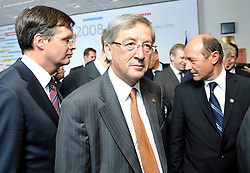 "Jean-Claude Juncker, Luxembourg's prime minister, center, and Jan Peter Balkenende, the Dutch prime minister, left, assemble with the other European heads of state for the ""Family Photo"" session at the European Summit, in Brussels, Belgium, Wednesday, Oct. 15, 2008.   (Photo © Jock Fistick)"