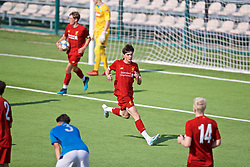 NAPLES, ITALY - Tuesday, September 17, 2019: Liverpool's substitute Layton Stewart celebrates scoring the equalising goal to level the score 1-1 during the UEFA Youth League Group E match between SSC Napoli and Liverpool FC at Stadio Comunale di Frattamaggiore. The game ended in a 1-1 draw. (Pic by David Rawcliffe/Propaganda)