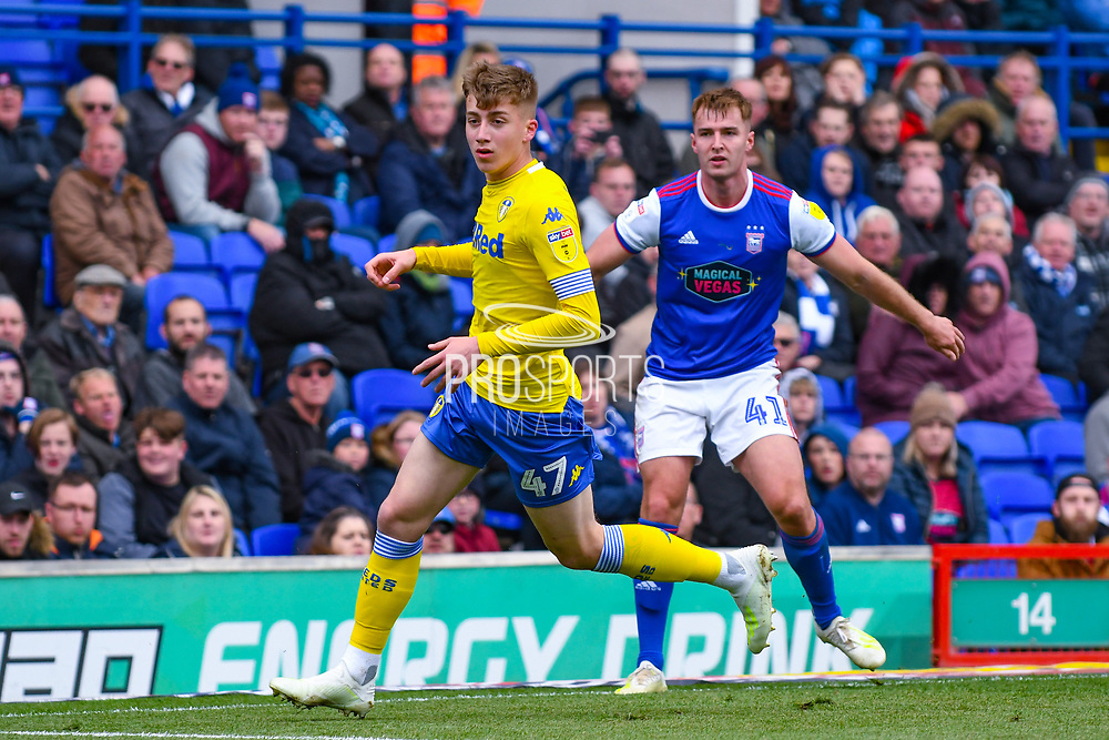 Jack Clarke of Leeds United (47) in action during the EFL Sky Bet Championship match between Ipswich Town and Leeds United at Portman Road, Ipswich, England on 5 May 2019.