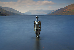 Pictured: Mirror Man Sculpture by artist Rob Mullholland stands on the bank of Loch Eran at St Fillans Perth, Titled Still.<br /> <br /> <br /> &copy; Stephen Smyth/ EEm