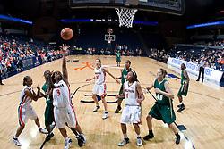 Virginia Cavaliers Guard Paulisha Kellum (3) shoots over South Florida Bulls guard Rachael Sheats (2).  The Virginia Cavaliers defeated the South Florida Bulls 73-71 in the third round of the Women's NIT held at John Paul Jones Arena in Charlottesville, VA on March 22, 2007.