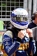 Renault E.Dams driver, Nico Prost taking his helmet off during round 10, Formula E, Battersea Park, London, United Kingdom on 3 July 2016. Photo by Matthew Redman.