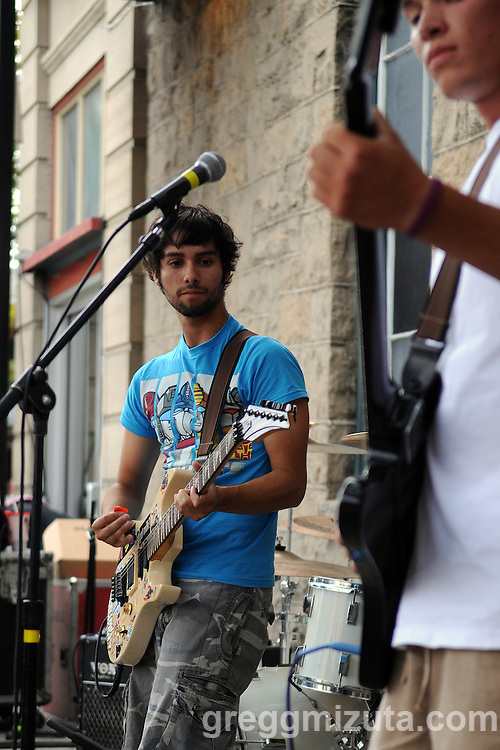 Free Willy and the Blowholes (Todd Risenmay, Sam Rines, Ricky Navarrete and Chris Paulsen) play at the grand opening of Chronic Taco in downtown Boise, Idaho, July 2, 2009.