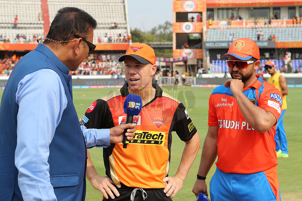 Sunrisers Hyderabad captain David Warner and Gujarat Lions captain Suresh Raina at the toss during match 6 of the Vivo 2017 Indian Premier League between the Sunrisers Hyderabad and the Gujarat Lions held at the Rajiv Gandhi International Cricket Stadium in Hyderabad, India on the 9th April 2017<br /> <br /> Photo by Ron Gaunt - IPL - Sportzpics