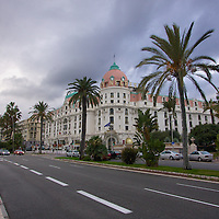 The Promenade des Anglais along the beachfront boardwalk in Nice. Even on a cloudy winter day, it still exudes tropical vibes.