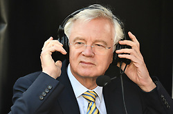 © Licensed to London News Pictures. 19/10/2019. London, UK. Former Brexit Secretary DAVID DAVIS is seen during a radio interview in Westminster, London on the day that Parliament will vote on a new agreement between UK government and the EU on Brexit. Parliament is sitting on a Saturday for the first time since 1982. Photo credit: Ben Cawthra/LNP