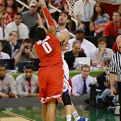 Mar 31, 2012; New Orleans, LA, USA; Kansas Jayhawks center Jeff Withey (5) shoots over Ohio State Buckeyes forward Jared Sullinger (0) during the first half in the semifinals of the 2012 NCAA men's basketball Final Four at the Mercedes-Benz Superdome. Mandatory Credit: Derick E. Hingle-US PRESSWIRE