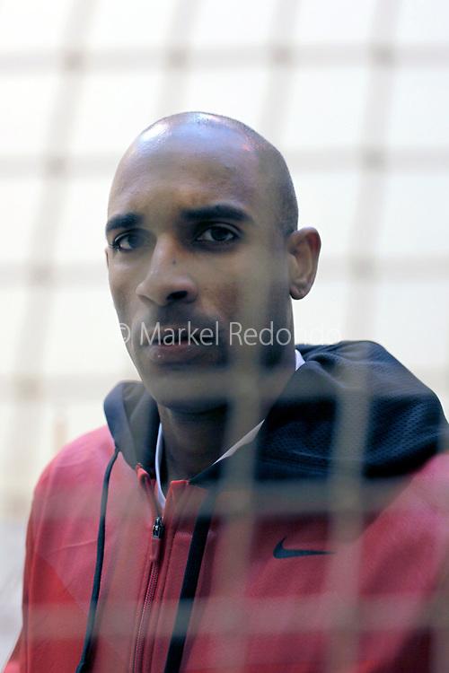 Cuban Basque pelota player Waltary Agusti at Saint Palais Trinquete, Basse Navarre, France.