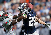 BYU wide receiver Luke Ashworth (29) is unable to come up with a pass as UNLV cornerback Mike Grant, left, defends during the first half of an NCAA college football game at LaVell Edwards Stadium, Saturday, Nov. 6, 2010, in Provo, Utah.  (AP Photo/Colin E. Braley)