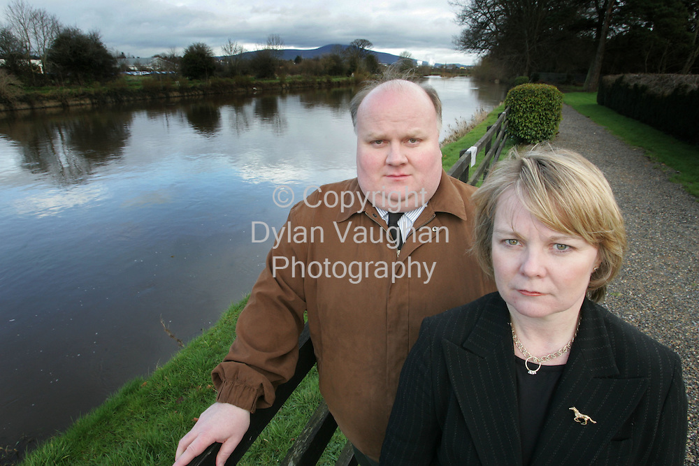 16/2/2006.Brother and Sisiter John Nallon and Liz Nallon of the Minella Hotel in Clonmel County Tipperary pictured on the banks of the river Suir at the front of the Hotel..Picture Dylan Vaughan.
