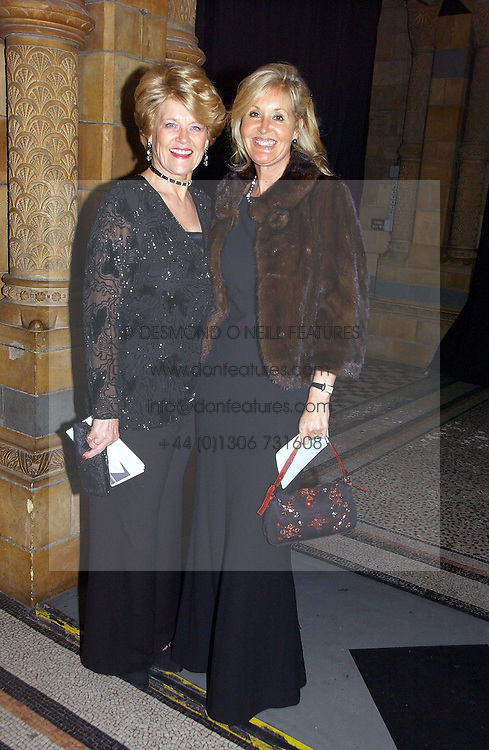 Left to right, ANNIE PARSONS wife of Nicholas parsons and SUSIE BUCHANAN daughter of Nicholas Parsons at a gala dinner in the presence of HM Quenn Silvia of Sweden and HM Queen Noor of Jordan in aid of the charity Mentor held at the Natural History Museum, Cromwell Road, London on 23rd May 2006.<br />