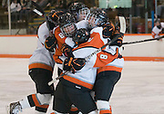 2012/03/04 - RIT celebrates the opening goal of the ECAC West Championship game between RIT and SUNY Plattsburgh at RIT's Ritter Arena on March 4th, 2012. RIT lead 1-0 after one period of play.