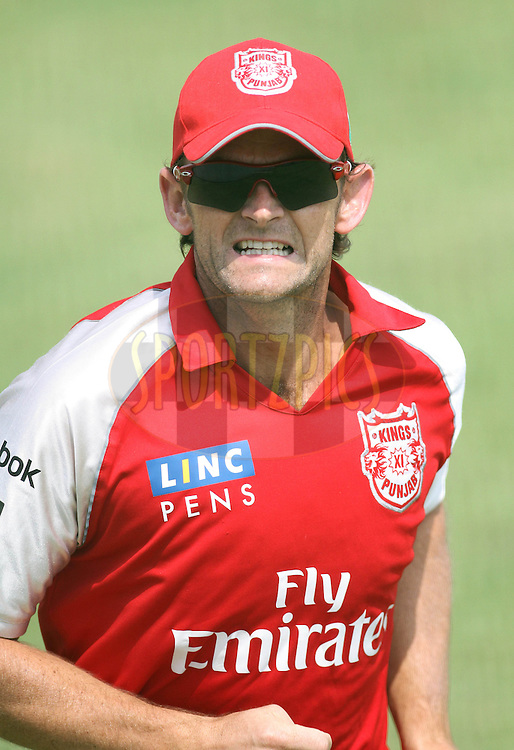 Captain Adam Gilchrist of the Kings XI Punjab during the Kings XI Punjab training session held at The HPCA Stadium in Dharamsala, Himachal Pradesh, India on the 20th May 2011..Photo by Shaun Roy/BCCI/SPORTZPICS