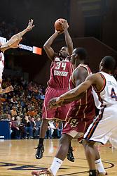 Boston College forward Shamari Spears (34) shoots against Virginia.  The Virginia Cavaliers men's basketball team faced the Boston College Golden Eagles at the John Paul Jones Arena in Charlottesville, VA on January 19, 2008.