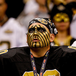 Oct 31, 2010; New Orleans, LA, USA; ANew Orleans Saints fan in costume during a game against the Pittsburgh Steelers at the Louisiana Superdome. The Saints defeated the Steelers 20-10.  Mandatory Credit: Derick E. Hingle