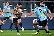 SYDNEY, AUSTRALIA - JUNE 08: Brumbies player Irae Simone (12) steps past Waratahs player Curtis Rona (11) at week 17 of Super Rugby between NSW Waratahs and Brumbies on June 08, 2019 at Western Sydney Stadium in NSW, Australia. (Photo by Speed Media/Icon Sportswire)