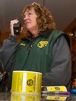 Lodge Manager Mary Knapp checks in with the mountain crew at the Abenaki Ski Area.  (Karen Bobotas/for the Laconia Daily Sun)