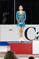 KELOWNA, BC - OCTOBER 26: Ladies silver medalist, Japanese figure skater Rika Kihira stands on the podium during medal ceremonies of Skate Canada International held at Prospera Place on October 26, 2019 in Kelowna, Canada. (Photo by Marissa Baecker/Shoot the Breeze)