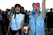 Two babyshambles fans cheering in the crowd, Metro Weekender, Get Loaded In The Park, London 2006