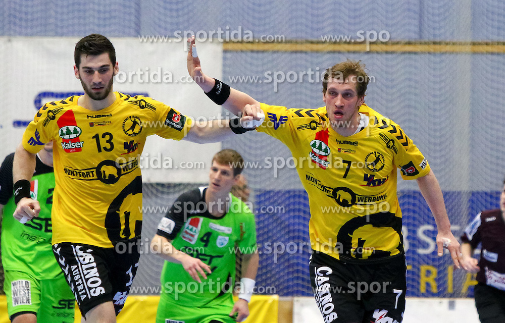27.03.2015, BSFZ Suedstadt, Maria Enzersdorf, AUT, ÖHB Cup, Halbfinale, Bregenz Handball vs SG INSIGNIS Handball WestWien, im Bild Filip Gavranovic (Bregenz), Povilas Babarskas (Bregenz)// during the ÖHB Cup semifinal Match between Bregenz Handball and SG INSIGNIS Handball WestWien at the BSFZ Suedstadt, Maria Enzersdorf, Austria on 2015/03/27, EXPA Pictures © 2015, PhotoCredit: EXPA/ Sebastian Pucher