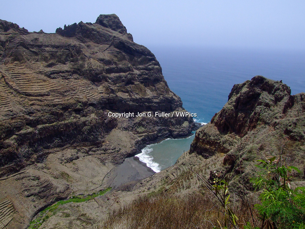 The canyon in which Fontainhas is built opens into this bay on the Atlantic Ocean on the north shore of Santo Antao, Republic of Cabo Verde, Africa.