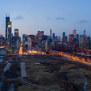 Chicago aerial view from Ping Tom Memorial Park on the north edge of Chinatown.