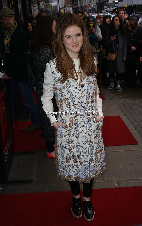 London,England, UK : 25th April 2016 : Rose Leslie attend the Doctor Faustus – Gala Opening Night at the Duke of York's Theatre, St Martin's Lane , London. Photo by See Li