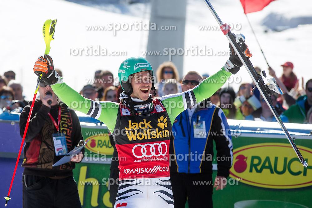 Winner NEUREUTHERFelix of Germany at medal ceremony during the 2nd Run of Men's Slalom - Pokal Vitranc 2014 of FIS Alpine Ski World Cup 2013/2014, on March 9, 2014 in Vitranc, Kranjska Gora, Slovenia. Photo by Matic Klansek Velej / Sportida