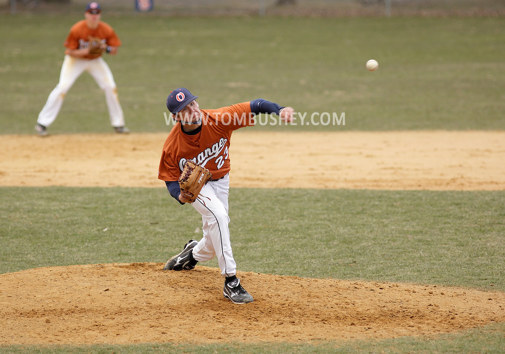 Middletown, New York - An Orange County Community College player pitches during a game against Sullivan County Community College on April 2, 2011. ©Tom Bushey / The Image Works