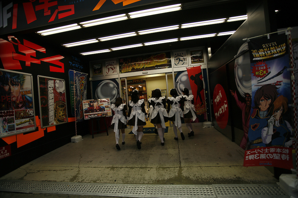 """Japan's Anime center  Akihabara in central Tokyo  has been  for years known for the availability  of Computer and electronic gear has become the  Anime center, thousands of """"otakus """" computer/ anime nerds gather to  buy and sell electronic gear, computer games an parts creating a small industry of """"Maid  Cafe's""""  where young mostly  women dress as  """"french  maids"""" with  short black dresses and  white aprons or in some cases as popular caricatures of Anime themes and  games..."""