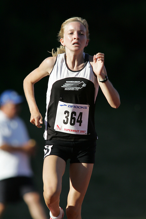 Jessica Schmidt competing in the 1500m at the 2007 OTFA Supermeet II. The Ontario Track and Field Association Bantam-Midget-Juvenile Championships were held in Toronto from August 3rd to 5th.