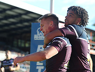 Brad Dywer (L) of Leeds Rhinos celebrates scoring his try with team mate Josh Walters (R) against Halifax RLFC during the Super 8s The Qualifiers match at Mbi Shay Stadium, Halifax<br /> Picture by Stephen Gaunt/Focus Images Ltd +447904 833202<br /> 23/09/2018