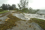 Part of Palma Sola Boulevard in Bradenton, Florida is washed away by Hurricane Jeanne.