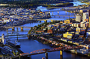 The many bridges of Portland, Oregon, over the Willamette River are a critical links to the downtown area and visual centerpieces.
