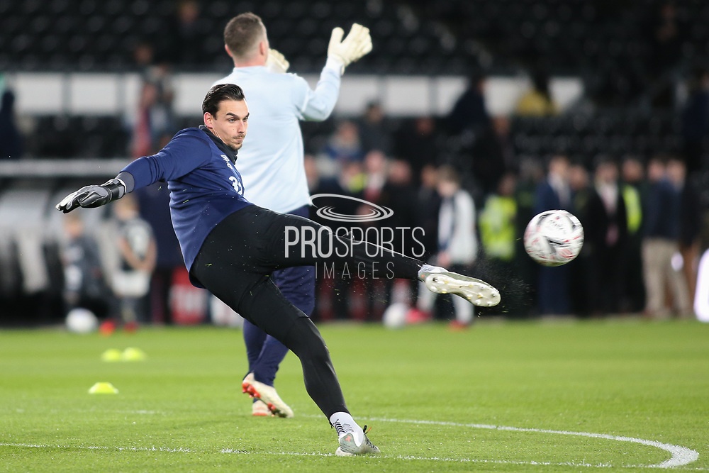Derby County goalkeeper Kelle Roos  in the warm up during the The FA Cup match between Derby County and Manchester United at the Pride Park, Derby, England on 5 March 2020.
