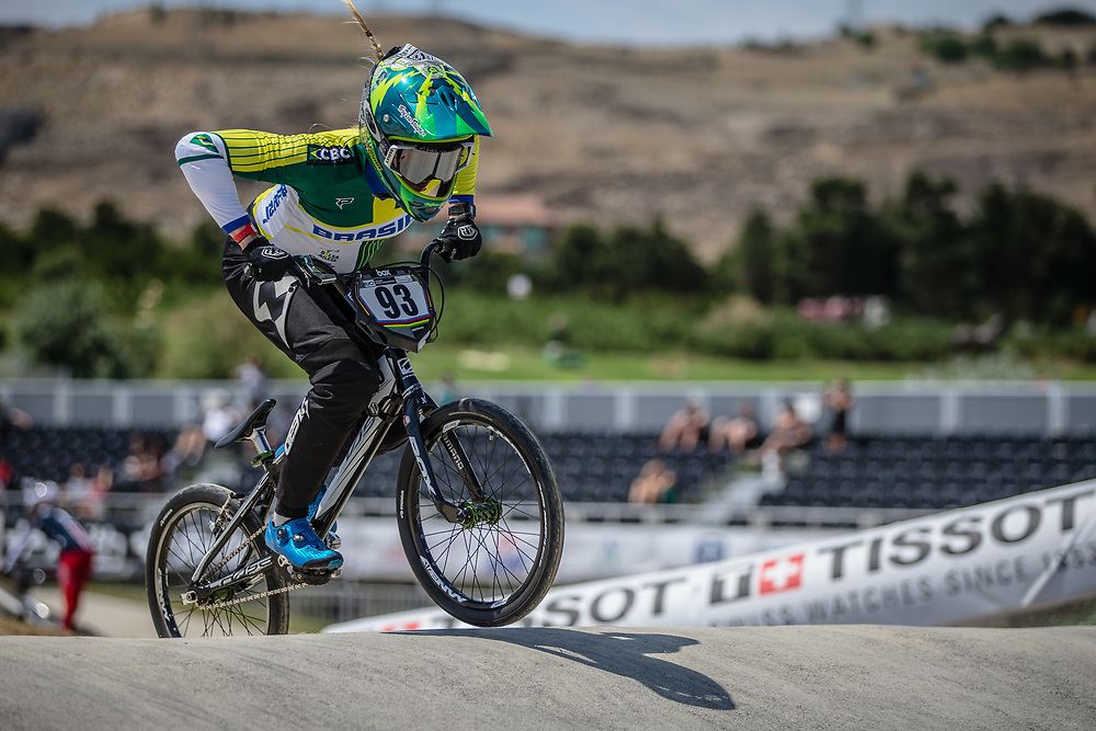 Women Elite #93 (STEVAUX CARNAVAL Priscilla Andreia) BRA at the 2018 UCI BMX World Championships in Baku, Azerbaijan.