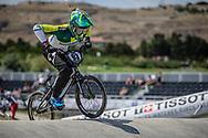 Women Elite #93 (STEVAUX CARNAVAL Priscilla Andreia) BRA at the 2018 UCI BMX World Championships in Baku, Azerbaijan.