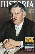 Front cover of issue no. 287 of Historia, a monthly history magazine, published October 1970, featuring articles on Laval, universities and Cromwell, with a front cover photograph of Pierre Laval, who was executed after plotting against De Gaulle. Historia was created by Jules Tallandier and published 1909-37 and again from 1945. Picture by Manuel Cohen