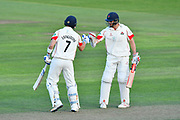 50 for Liam Livingstone of Lancashire - Liam Livingstone of Lancashire is congratulated by Ryan McLaren of Lancashire on scoring a half century during the Specsavers County Champ Div 1 match between Somerset County Cricket Club and Lancashire County Cricket Club at the Cooper Associates County Ground, Taunton, United Kingdom on 14 September 2017. Photo by Graham Hunt.