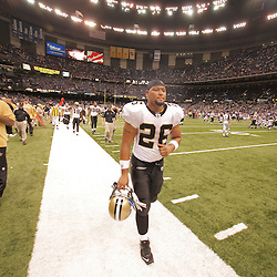 2008 October, 06: New Orleans Saints running back Deuce McAllister (26) runs off the field at the end of a New Orleans Saints 30-27 loss to the Minnesota Vikings on Monday Night Football at the Louisiana Superdome in New Orleans, LA.