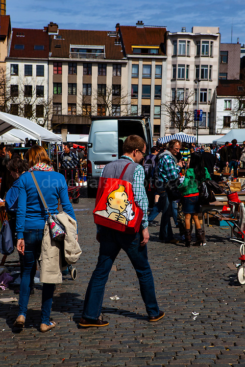 March au Puces - daily open air flea market at Place du Jeu de Ball, Brussels, Belgium.