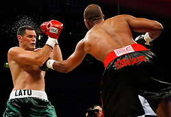 October 6, 2007; New York, NY, USA; Kali Meehan (green trunks) and DaVarryl Williamson (black trunks) trade punches during their bout at Madison Square Garden.