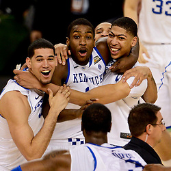 Apr 2, 2012; New Orleans, LA, USA; Kentucky Wildcats forward Eloy Vargas (left), forward Michael Kidd-Gilchrist (center) and forward Anthony Davis (right) celebrate after defeating the Kansas Jayhawks 67-59 in the finals of the 2012 NCAA men's basketball Final Four at the Mercedes-Benz Superdome. Mandatory Credit: Derick E. Hingle-US PRESSWIRE