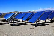 Heliostats reflecting sun rays, solar energy scientific research centre, Tabernas, Almeria, Spain - AORA Tulip System