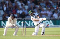 South Africa's Vernon Philander hits a six during day three of the Second Investec Test match at Trent Bridge, Nottingham.