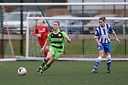 Forest Green's Samantha Hallsworth makes a pass during the FA Women's Premier League match between Forest Green Rovers Ladies and Brighton Ladies at the Hartpury College, United Kingdom on 24 January 2016. Photo by Shane Healey.