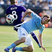 NEW YORK, NEW YORK - May 29:  Mix Diskerud #10 of New York City FC and Harrison Heath #8 of Orlando City FC challenge for the ball during the New York City FC Vs Orlando City, MSL regular season football match at Yankee Stadium, The Bronx, May 29, 2016 in New York City. (Photo by Tim Clayton/Corbis via Getty Images)