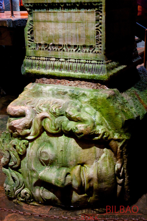 Medusa head pillar on Basilica Cistern.<br /> Istanbul, Turkey